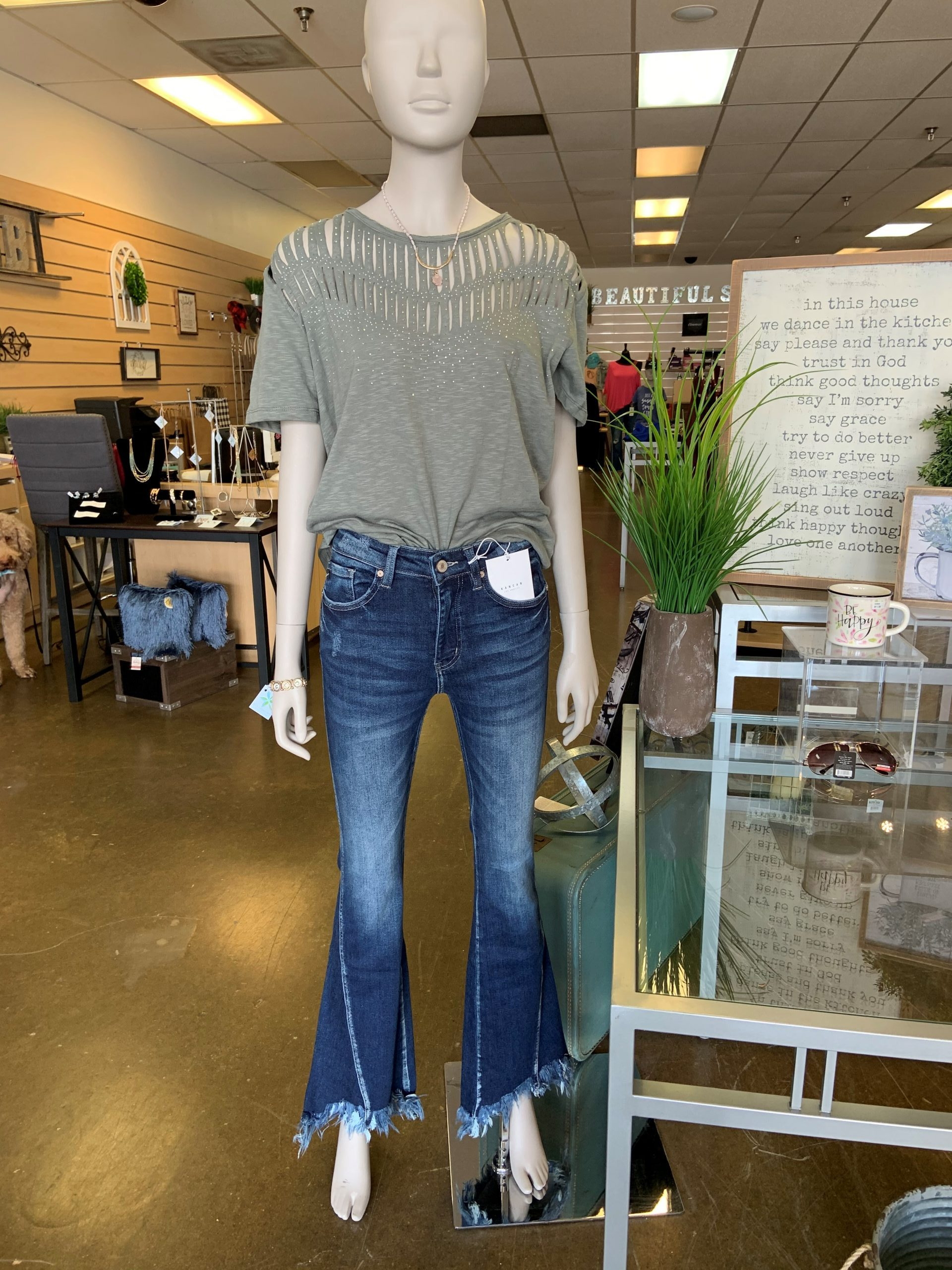 Kancan High Rise Side To Front Seam Detail Bootcut Dark Wash Jeans Beautiful Soul Boutique
