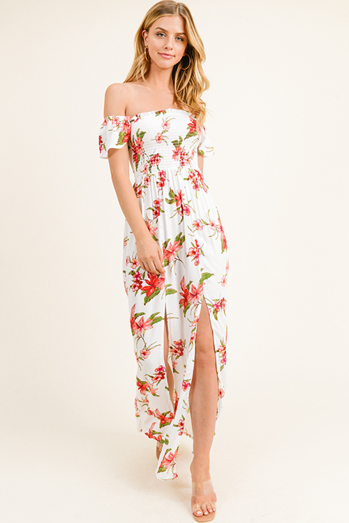 4a3109c45b0 White Floral Smocked Top Off the Shoulder Maxi Dress | Beautiful ...